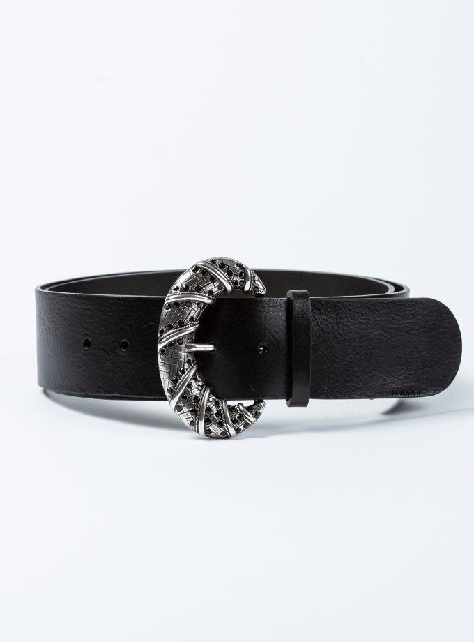 Cinturón de piel color negro con sofisticada hebilla joya plateada con brillantes negros
