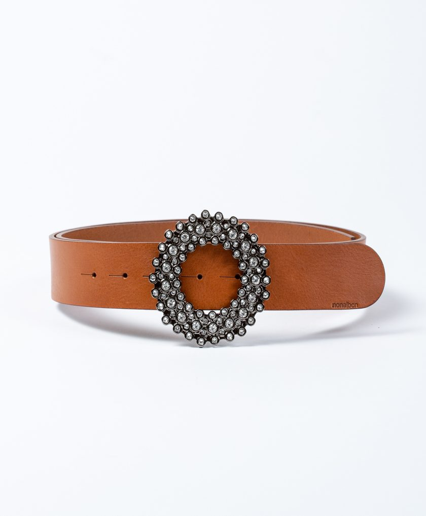 leather belt with crystals buckle