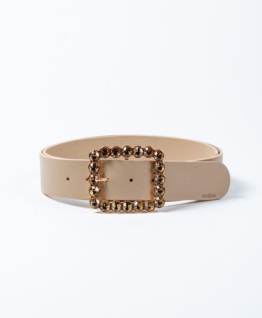 Cinturón de piel de calidad en color nude y hebilla joya con cristales color topaz