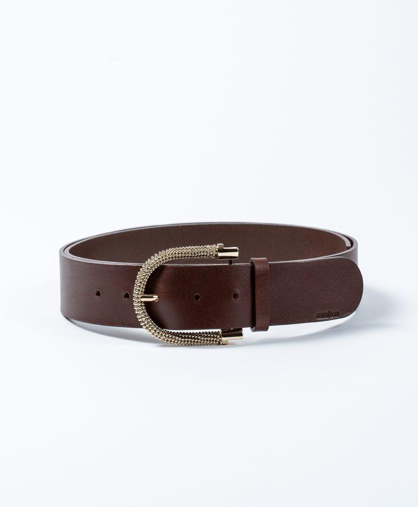 Cinturón de piel de calidad con hebilla joya color oro
