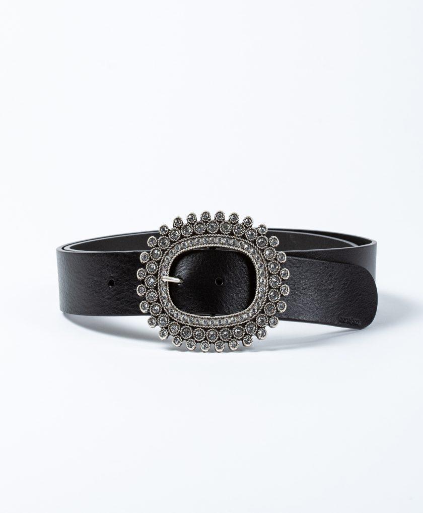 Cinturón con hebilla joya oval con cristales incrustados