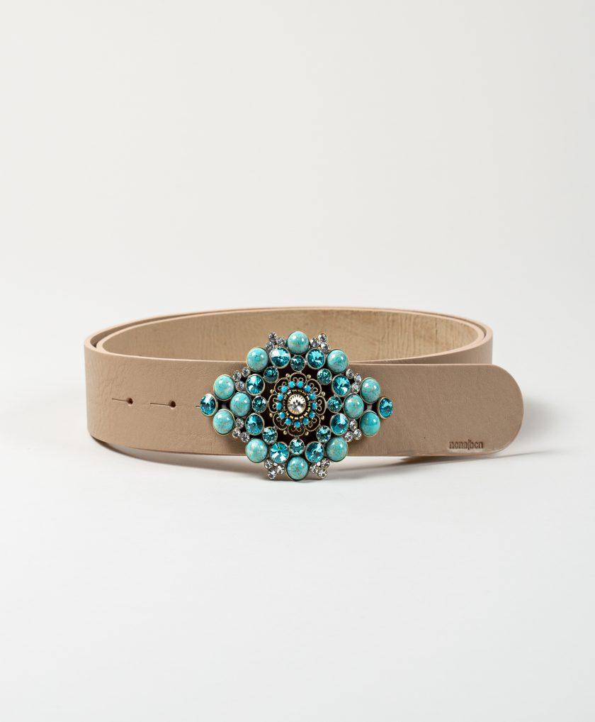 Cinturón exclusivo con hebilla joya confeccionada con piedras de gran calidad color turquesa