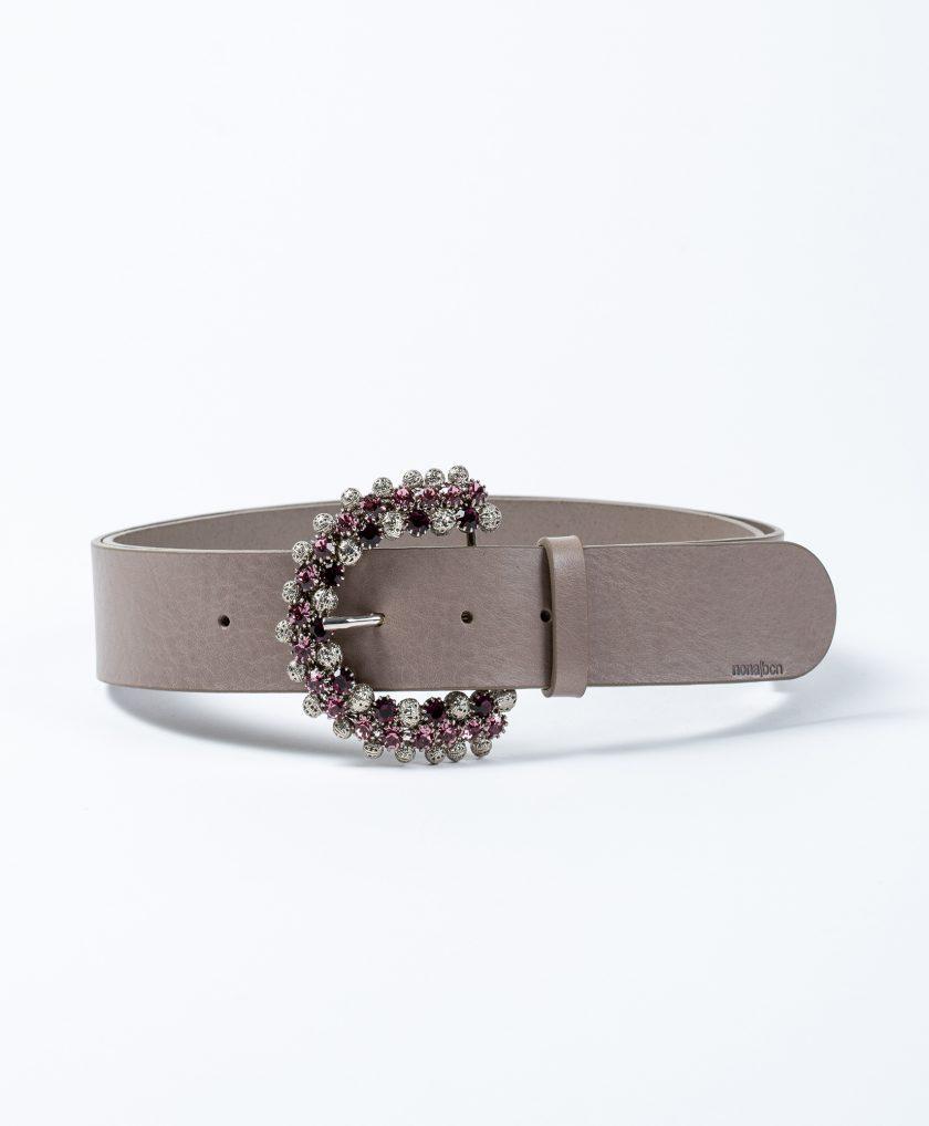 Espectacular cinturón de piel con hebilla lujosa hecha a mano con brillantes color rosa