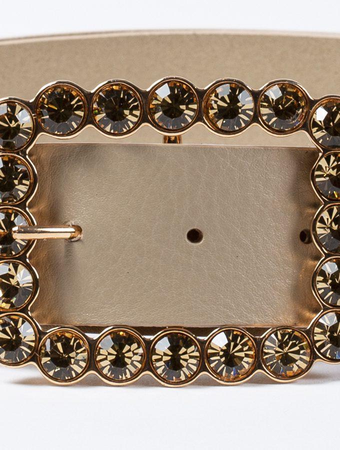 Cinturón de piel con hebilla exclusiva con cristales color topaz