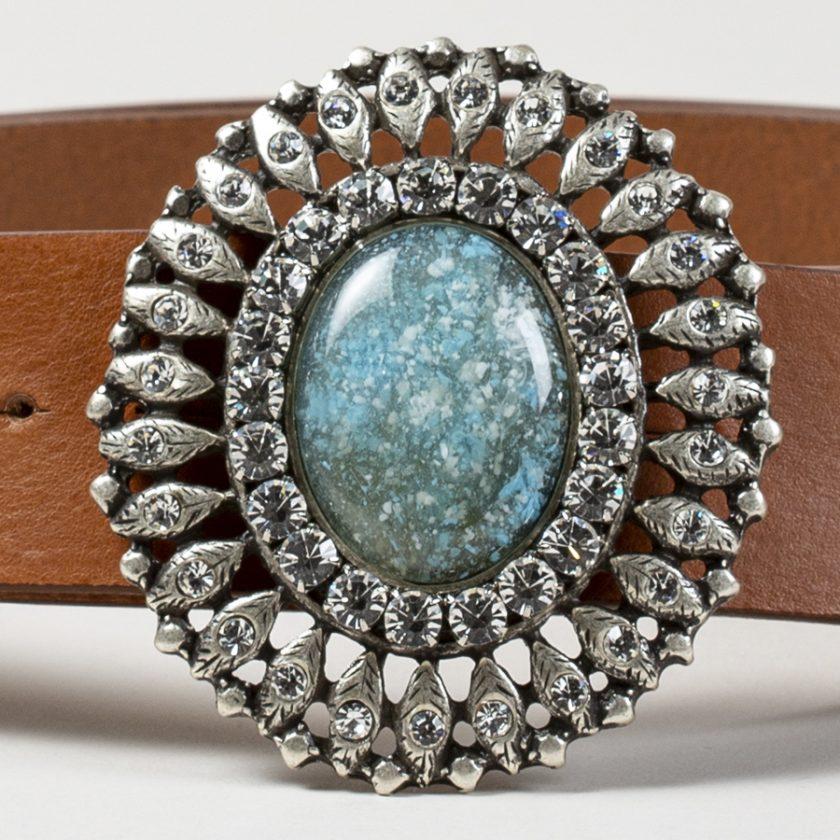 Cinturon de piel con hebilla joya con piedra turquesa y brillantes